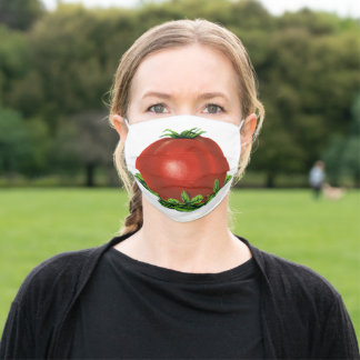 Vintage Red Ripe Tomato, Vegetables and Fruits Adult Cloth Face Mask