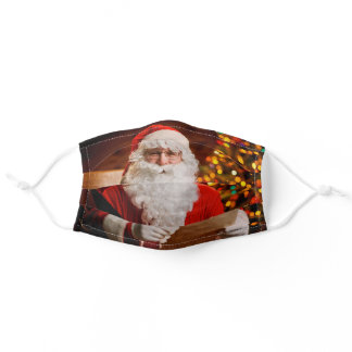 Vintage Red Santa Claus Merry Christmas Adult Cloth Face Mask