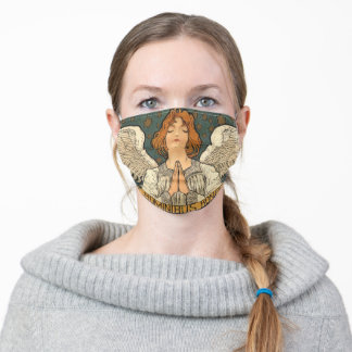 Vintage Religious Angel Praying with Gold Stars Adult Cloth Face Mask