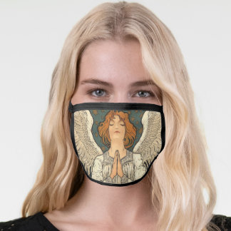 Vintage Religious Angel Praying with Gold Stars Face Mask