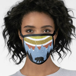 Vintage Retro Yellowstone National Park Bear Face Mask