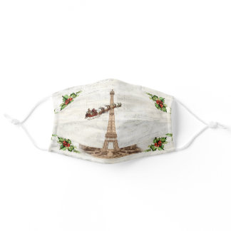 Vintage Santa over Paris Christmas Face Mask