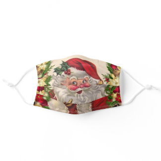 Vintage Santa Wishing You A Merry Christmas Adult Cloth Face Mask