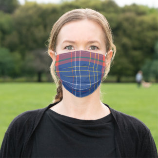 Vintage Scottish Blue And Red Plaid Adult Cloth Face Mask