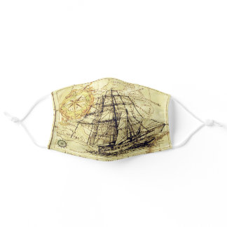 Vintage Ship On World Map Italy Brussels Waterloo Adult Cloth Face Mask