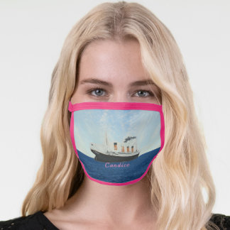 Vintage Ship Trendy Fun Pink Personalized Titanic Face Mask