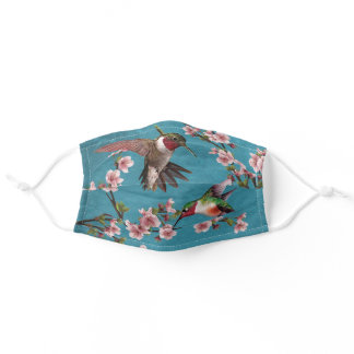 Vintage Style Hummingbirds & Blossoms Adult Cloth Face Mask
