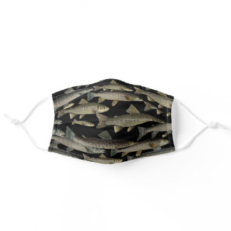 Vintage Trout Fly Fishing Adult Cloth Face Mask