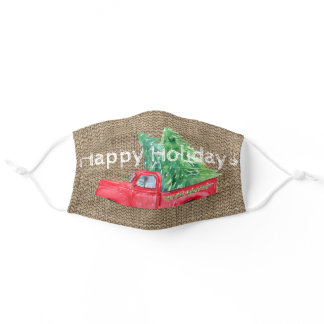 Vintage Truck and Holiday Trees Adult Cloth Face Mask