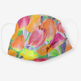 Vintage Tulip Watercolor Floral / Personalized Cloth Face Mask