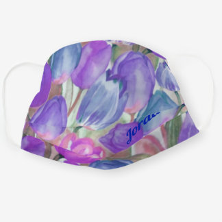 Vintage Tulip Watercolor Floral | Personalized Cloth Face Mask