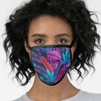 Violet And Blue Tropical Leaves Face Mask