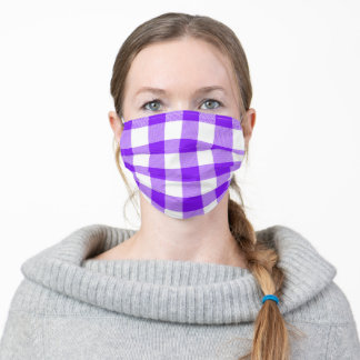 Violet and White Buffalo Plaid Gingham Adult Cloth Face Mask
