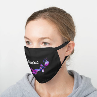 Violet Floral Personalized Name Black Cotton Face Mask