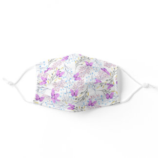 Violet lavender watercolor cute butterfly floral adult cloth face mask