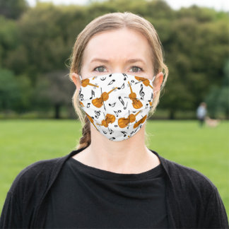 Violin Music Note Pattern Adult Cloth Face Mask