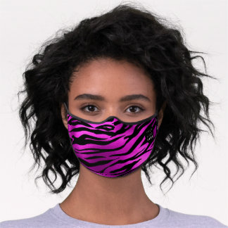 Vivid Pink Animal Skin Tiger Girly Name Logo Premium Face Mask