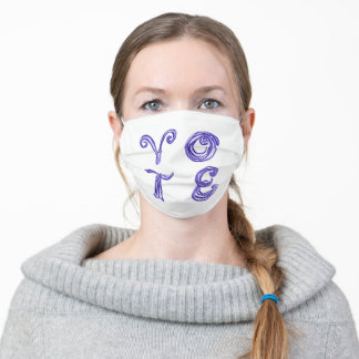 VO TE vote Love Park inspired blue fabric font Adult Cloth Face Mask