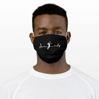 Volleyball Heartbeat Line Funny Gift Adult Cloth Face Mask