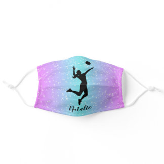 Volleyball Player Girl Sparkle Custom Name Adult Cloth Face Mask