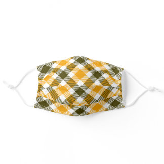 Warm Harvest Gold and Brown Plaid Adult Cloth Face Mask