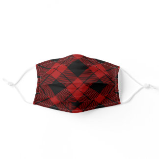 Warm Rich Deep Red and Black Christmas Plaid Adult Cloth Face Mask