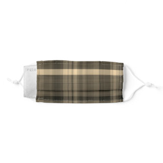 Washable reusable light brown unisex plaid pattern adult cloth face mask