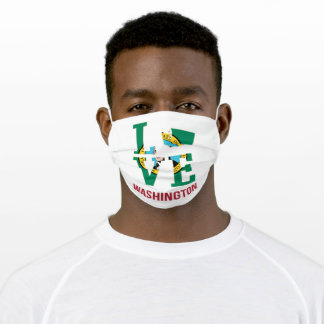 Washington State Flag Love Adult Cloth Face Mask