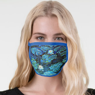 Water Lilies (blue) by Claude Monet Face Mask