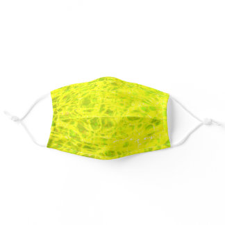 Water Patterns Neon Green Golden Yellow Abstract Adult Cloth Face Mask