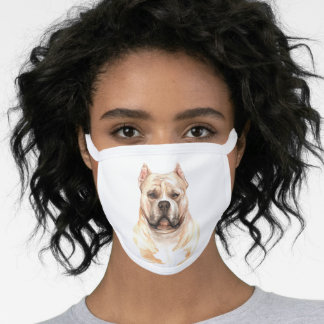 Watercolor American Bully dog Face Mask