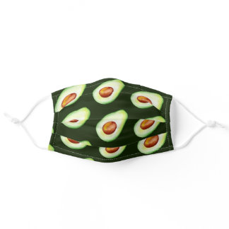 Watercolor Avocado Pattern DIY background color Adult Cloth Face Mask