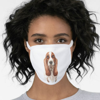 Watercolor Basset Hound Face Mask