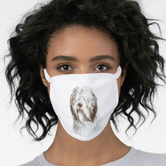 Watercolor Bearded Collie Face Mask