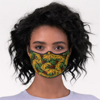 Watercolor Black-Eyed Susan Floral Pattern - Green Premium Face Mask