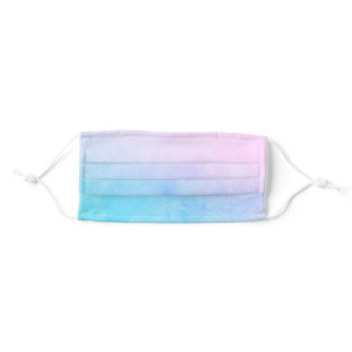 Watercolor Blend Pink Purple Electric Blue Ombre Adult Cloth Face Mask