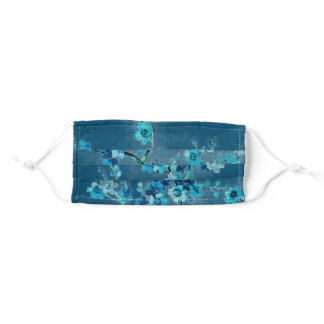 Watercolor Blue Flowers Adult Cloth Face Mask