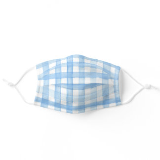 Watercolor Blue Gingham Pattern Adult Cloth Face Mask