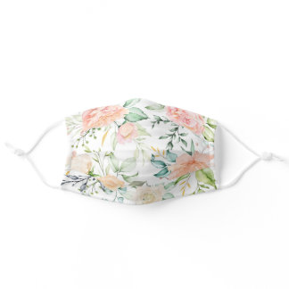 Watercolor Blush Floral Flowers Leave Pattern Adult Cloth Face Mask
