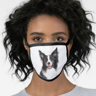 Watercolor Border Collie Face Mask