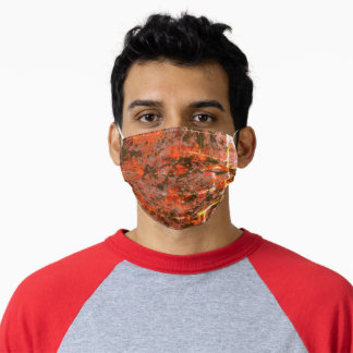 Watercolor Brick Red Gray Paint Splash Abstract Adult Cloth Face Mask