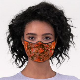 Watercolor Brick Red Gray Paint Splash Abstract Premium Face Mask