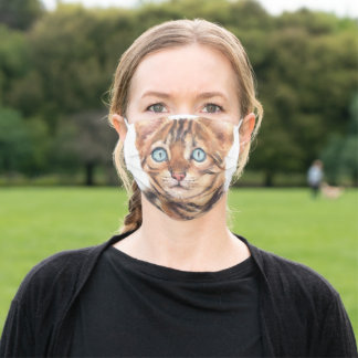 Watercolor Cat Face Personalized Adult Cloth Face Mask