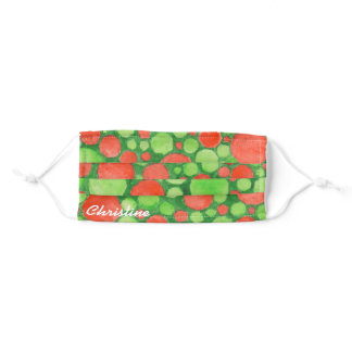 Watercolor Christmas Red Green Circles Adult Cloth Face Mask
