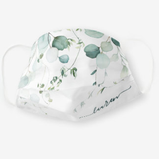 Watercolor Eucalyptus Green White Personalized Cloth Face Mask