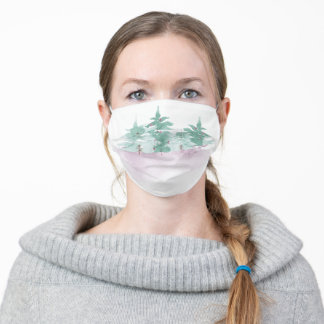 Watercolor Evergreen Trees & Purple Berries Adult Cloth Face Mask