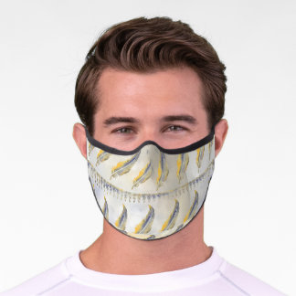 Watercolor feathers grey yellow pattern unisex premium face mask