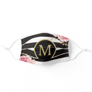 Watercolor Floral Black and White Stripes Monogram Adult Cloth Face Mask