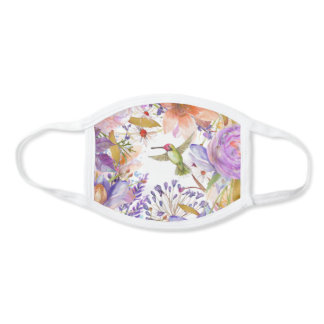 Watercolor Floral Hummingbird Collage Face Mask