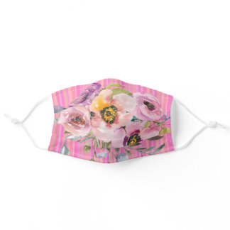 Watercolor Floral in Lavender, Pink and Peach Adult Cloth Face Mask